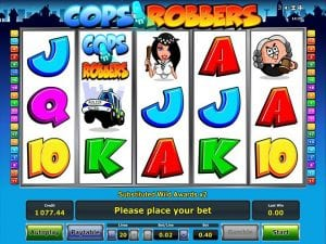 An Example of The Cops 'n' Robbers Slot Game Player Interface