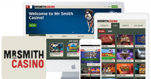 Mr Smith Casino on Mobile, Tablet and Desktop Logo