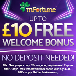 £10 Free No Deposit Bonus at mFortune Casino