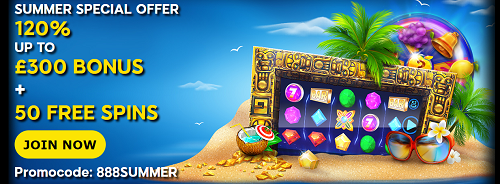 Summer Offer For New Players at 888 Casino