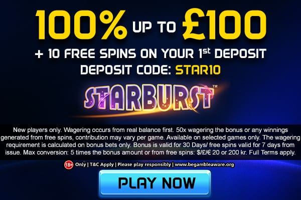 100% up to £100 Welcome Offer