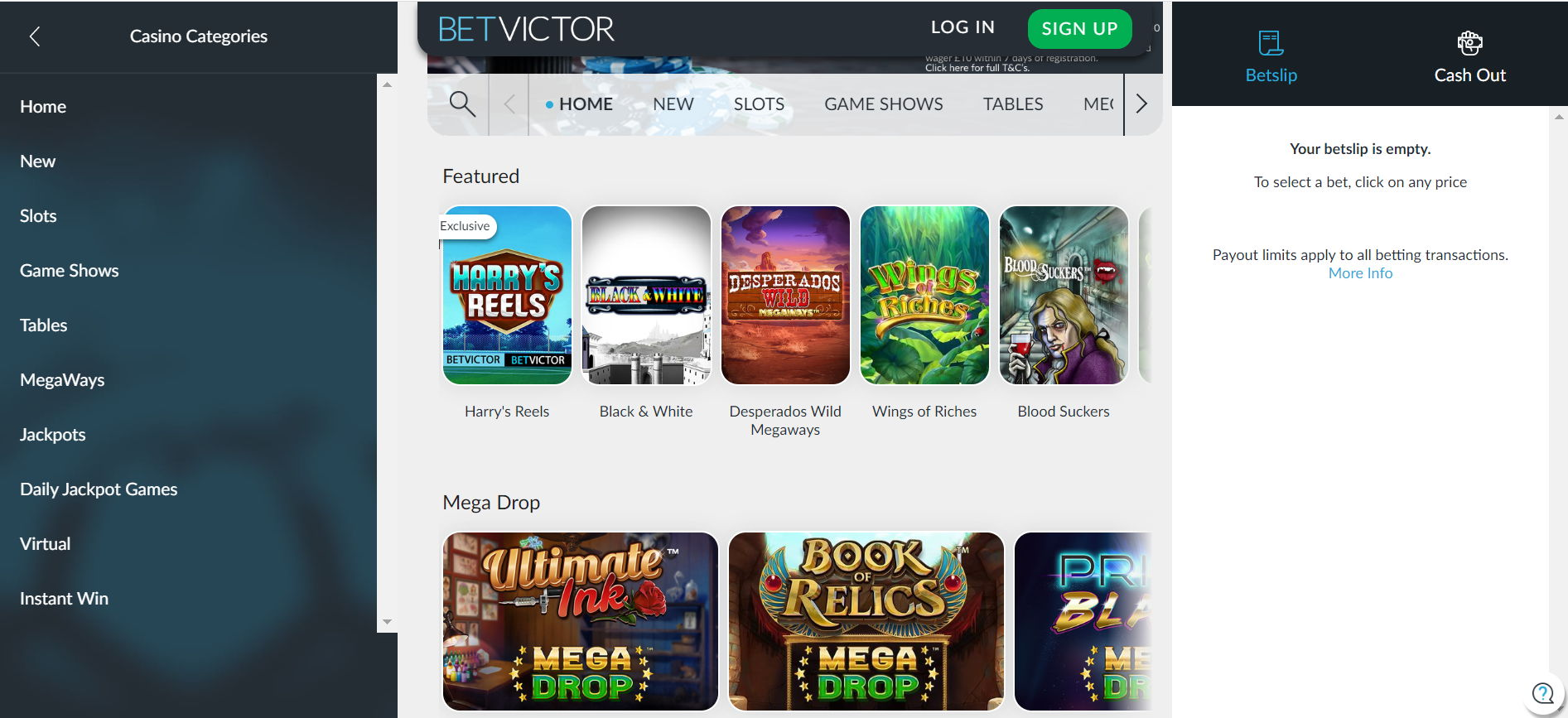 The Online Casino Interface Offered at BetVictor Casino