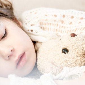 A little girl is sleeping