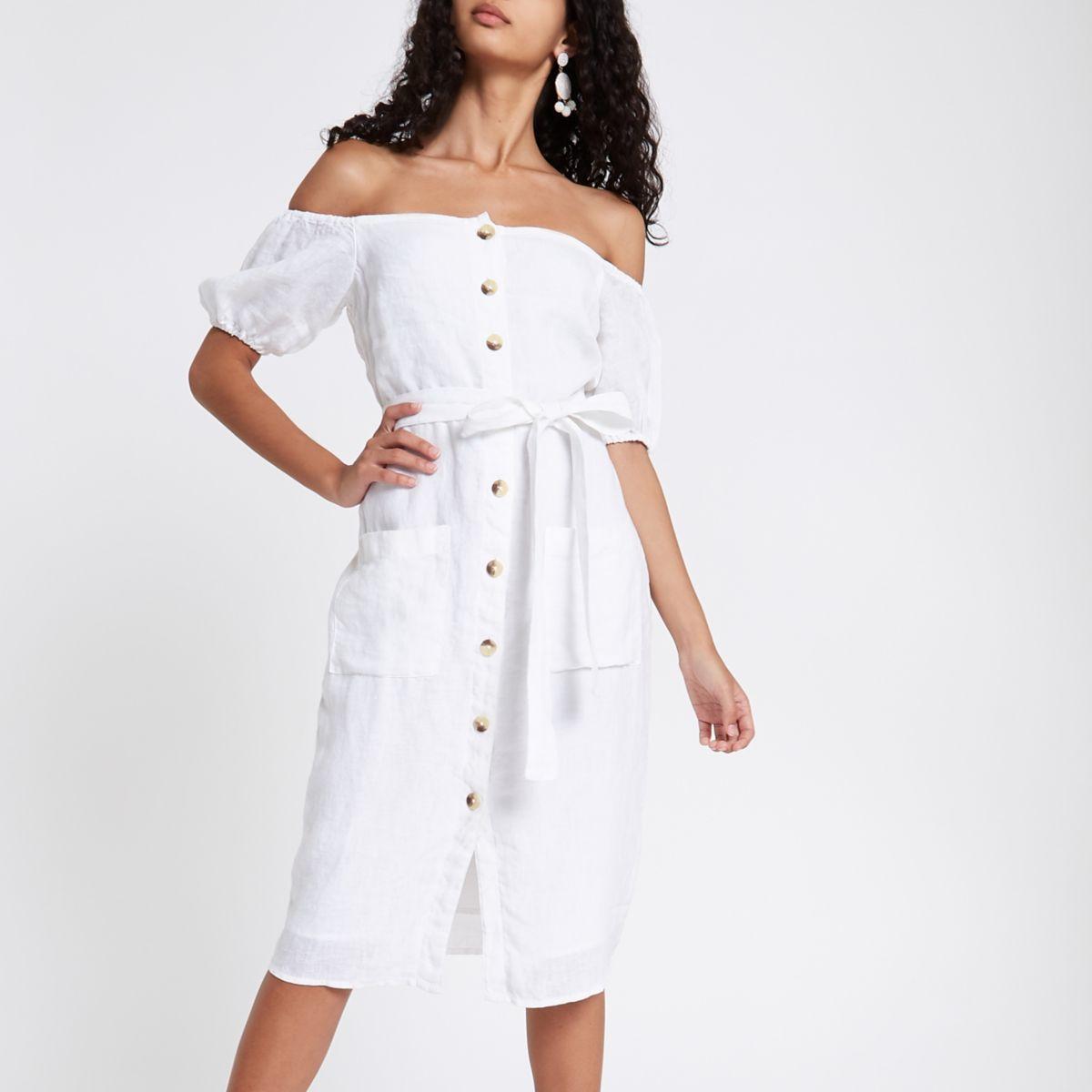 https://www.riverisland.ie/p/white-button-up-bardot-dress-716689