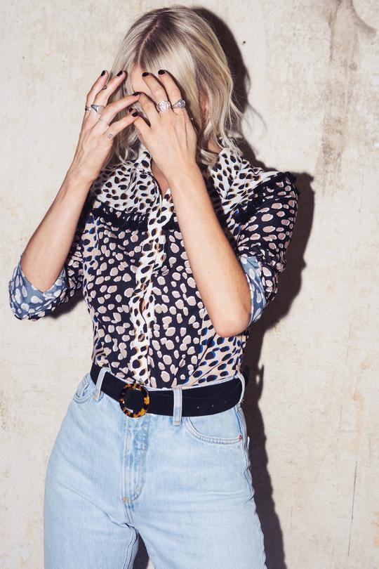 leopard and polka dot shirt