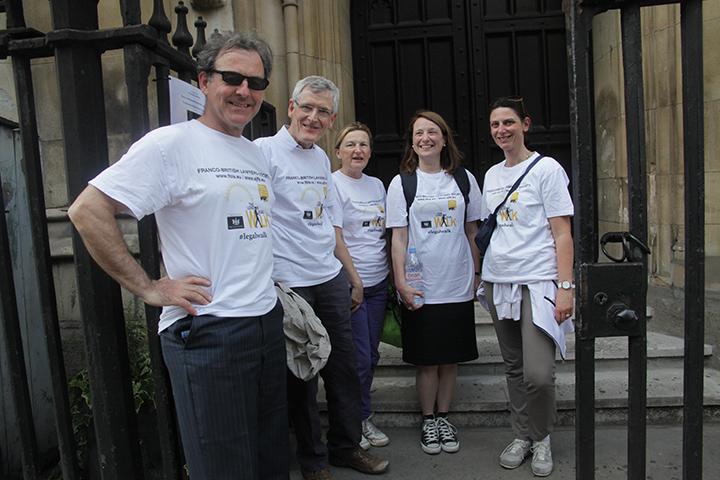 Left to right: Robert Stevenson, Christopher Devereux, Sally Osborn, Catherine Palmer, Bénédicte Viort (London Legal Walk 2014)