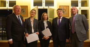 From left to right: Simon Horsington, founder of the Prix Universitaire Robertson-Horsington; Dr Oana Macovei, Université Tououse1 Capitole;  Dr Vivienne Forrest, Academic Director of the FBLS; Professor Dermot Cahill, Head of Bangor University School of Law; Guy Canivet, Le Premier Président Honoraire de La Cour de Cassation.