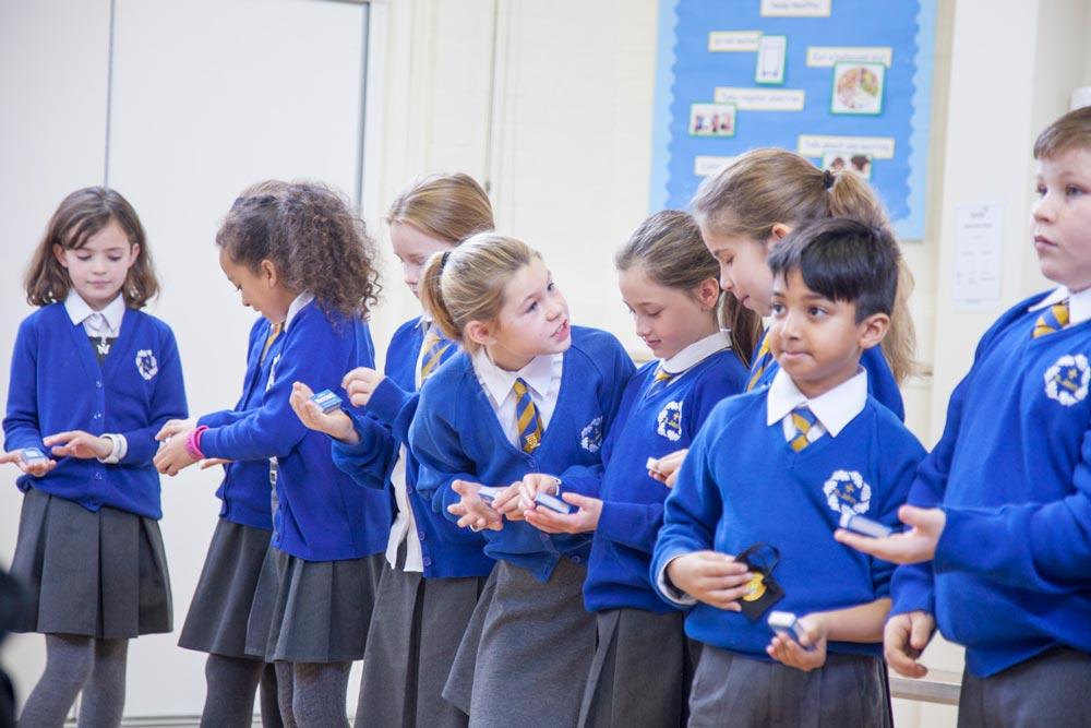 School kids lined up