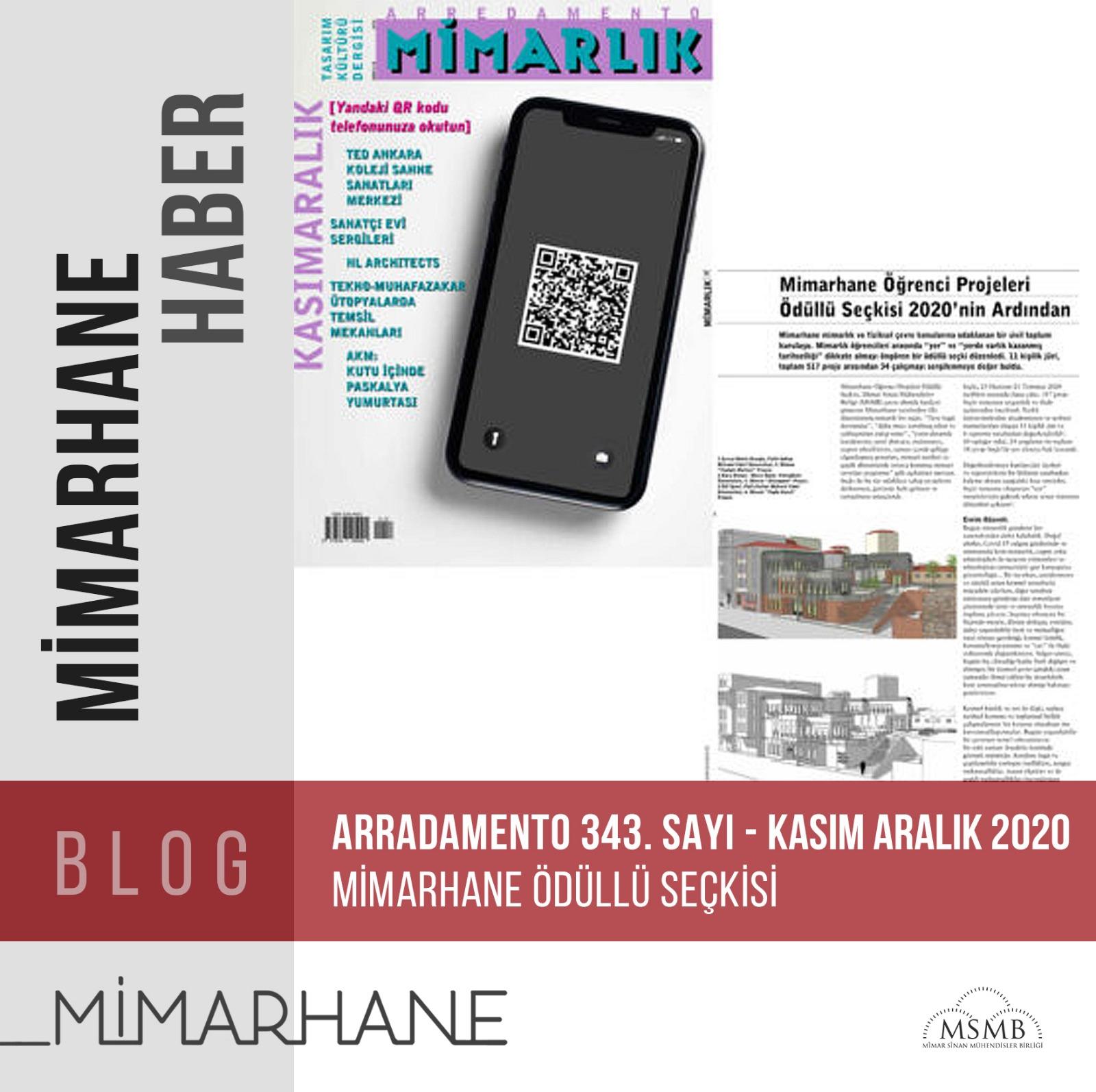 Arredamento-Kasım/Aralık 2020-343. Sayısında Mimarhane Öğrenci Projeleri Ödüllü Seçkisi Yer Aldı