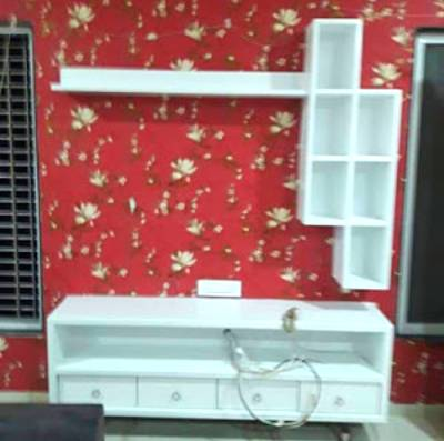 tv unit design with wallpaper