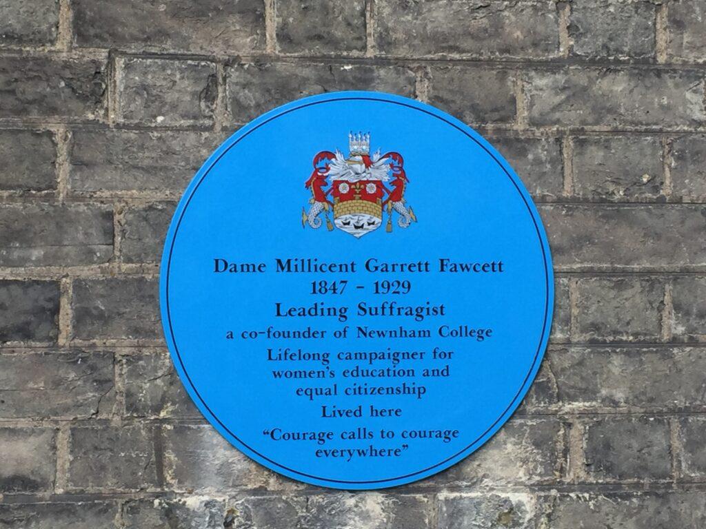 Plaque to Millicent Fawcett