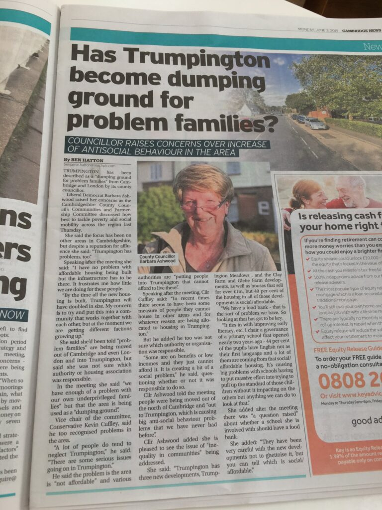 Barbara Ashwood quoted in the Cambridge News