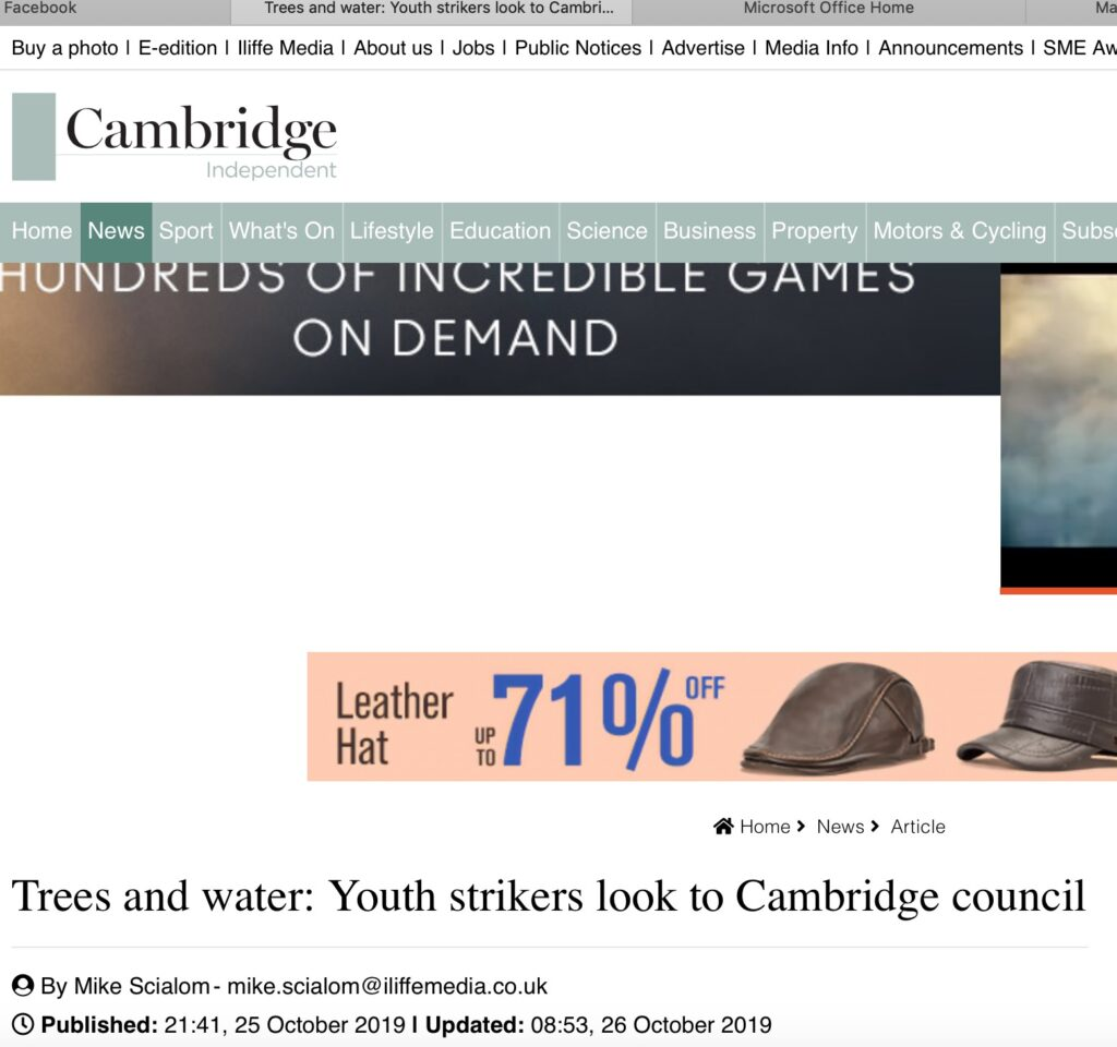 Cambridge Independent: Screenshot of article 'Trees and Water: Youth Strikers look to Cambridge Council'