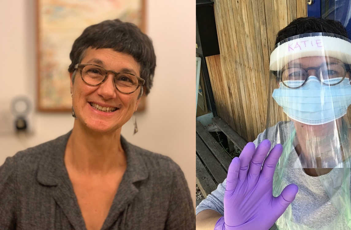 Two photos of Katie, one smiling and in a mask and visor