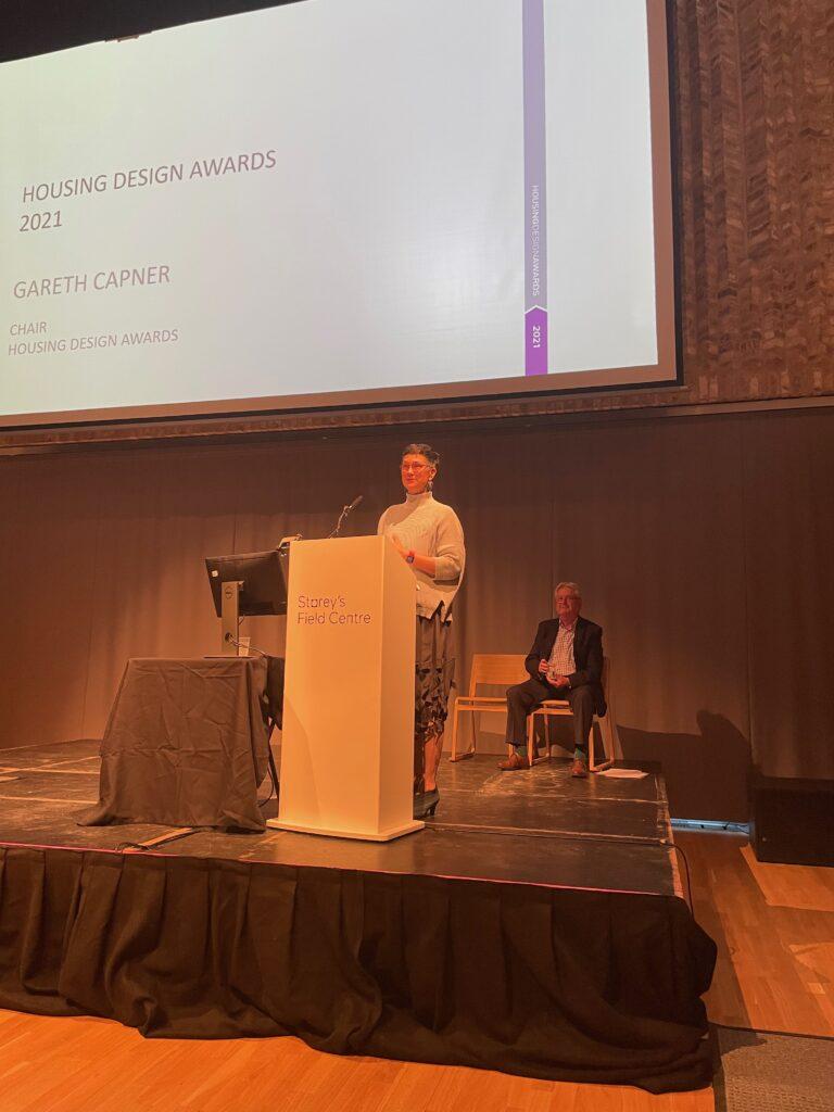Katie speaking at the Housing Design Awards