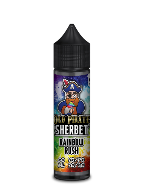 e-liquid bottle: Old Pirate Rainbow Rush Sherbet 60ml Shortfill