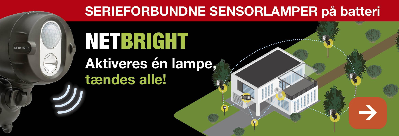 MR BEAMS NETBRIGHT - Serieforbundne sensorlamper på batteri - Aktiveres én lampe tændes alle!