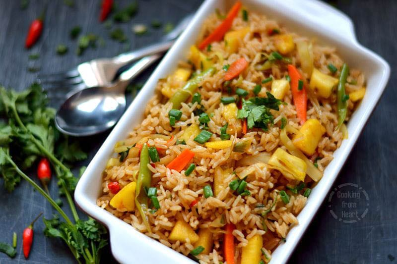 Pineapple Fried Rice   Sweet & Spicy Vegetable Fried Rice