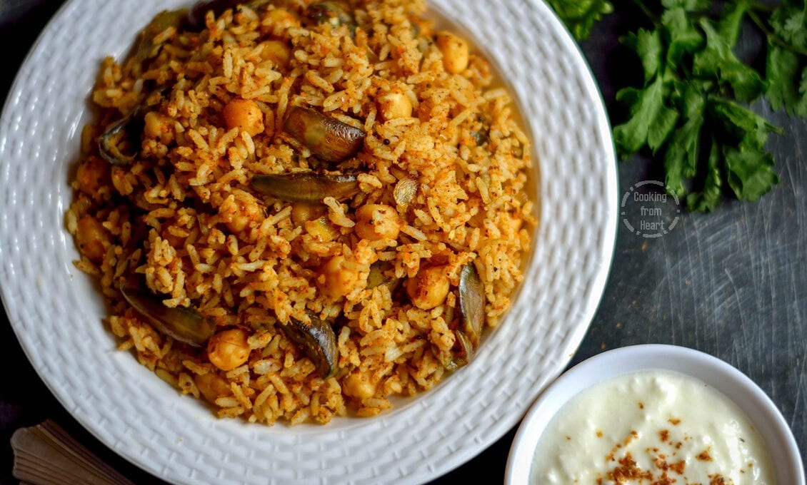 Vangi Bath | Spicy Brinjal Rice