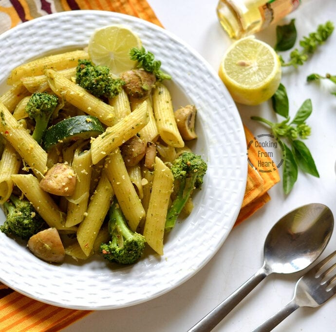 Pesto Pasta with Vegetables | Easy Vegatable Pesto Pasta