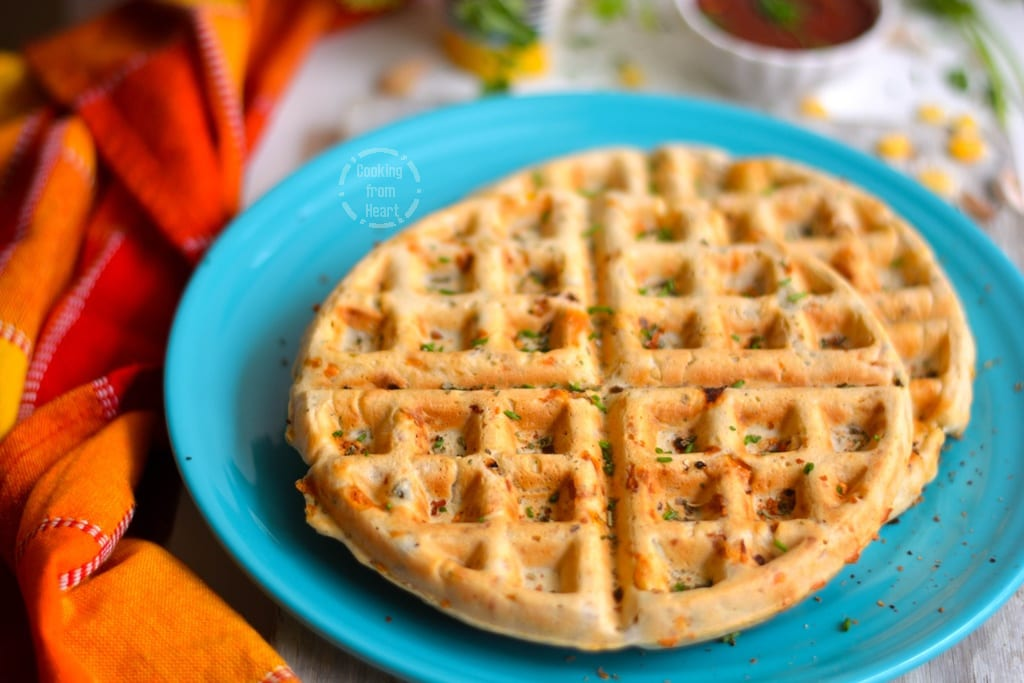 Eggless Savory Corn Cheese Waffles