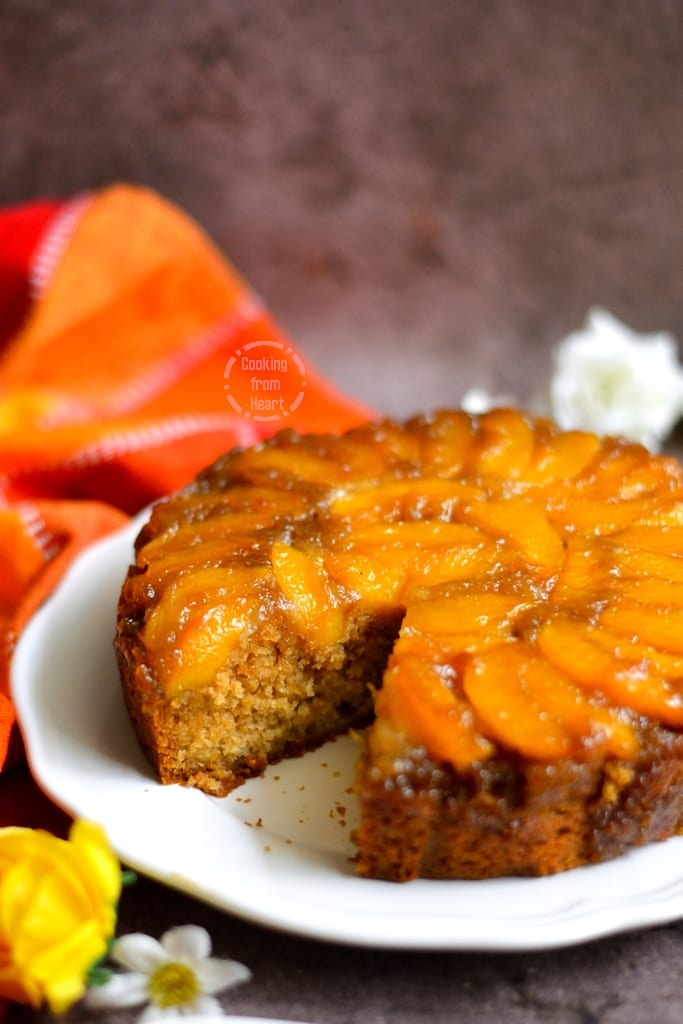 Eggless Upside Down Peach Cake