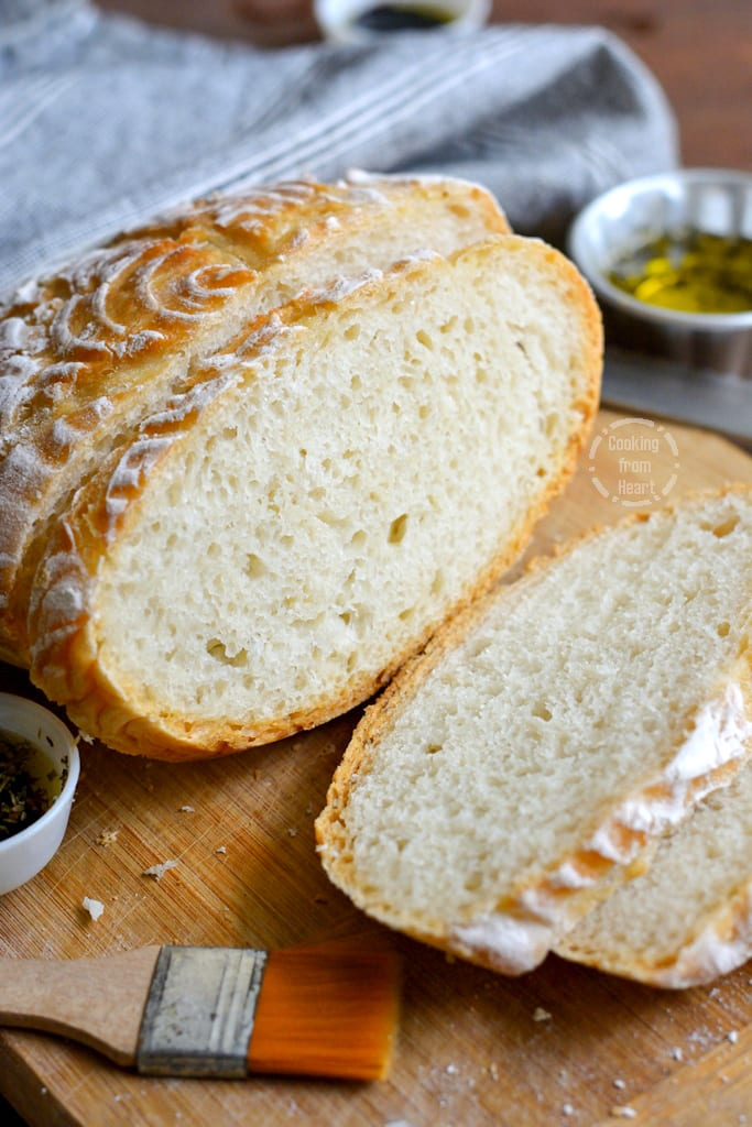 No Knead Crusty White Bread