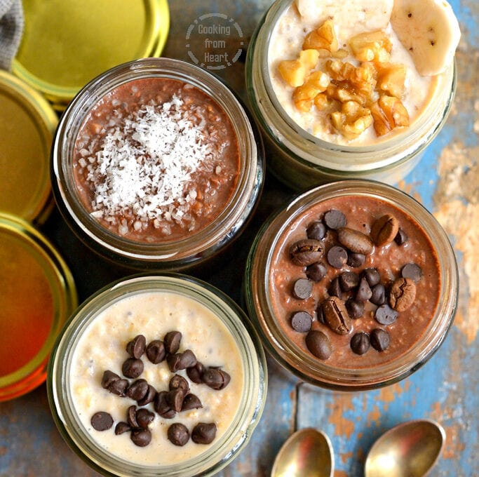 Easy Overnight Oats | 4 Flavors of Overnight Oats