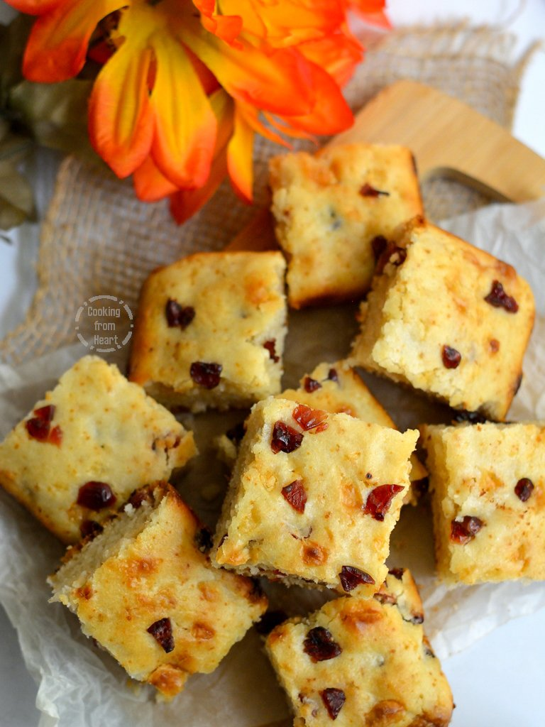 Eggless White Chocolate Cranberry Blondies