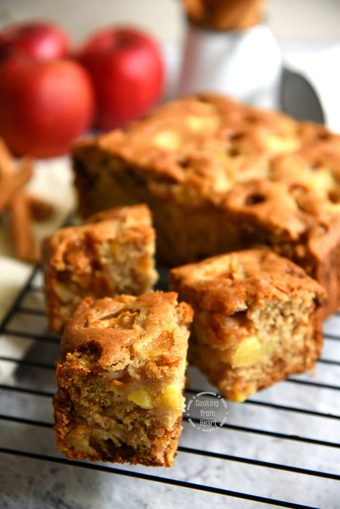 Eggless Apple Cinnamon Butterscotch Cake