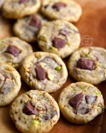 Eggless Chocolate Chunk Pistachio Cookies