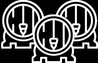 Three black and white barrels for the three tuns logo