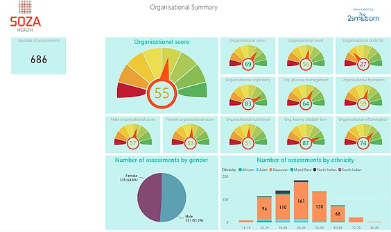Image of Soza corporate analytics dashboard showing wellness insights