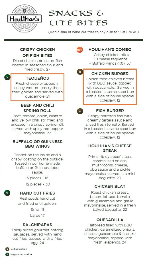 Houlihans Food Menu