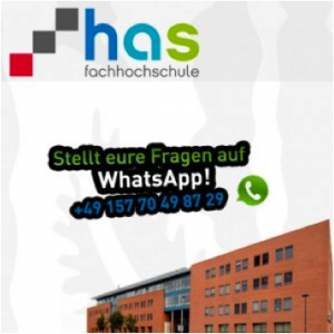 An image from HAS University showing their logo and WhatsApp number