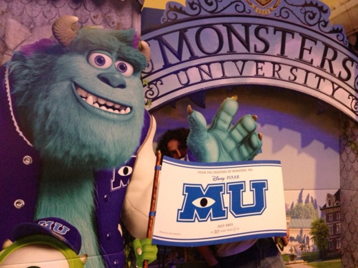 Posing with Sully to promote Monsters University movie