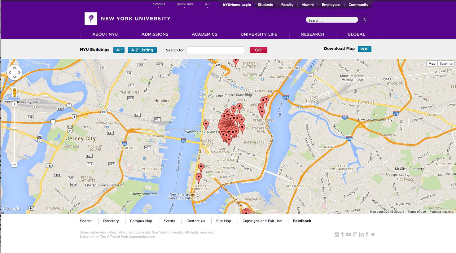 New York University interactive map