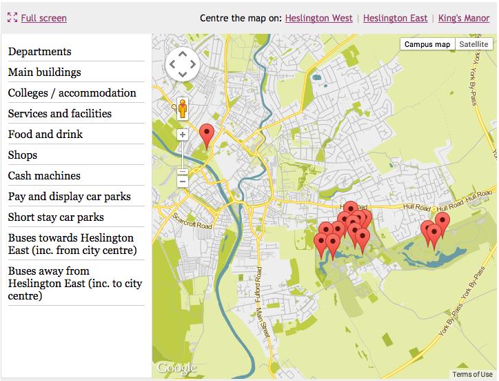 University of York interactive map