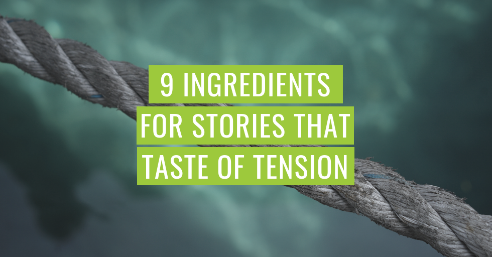 """A taut rope, with the text, """"9 ingredients for stories that taste of tension."""""""