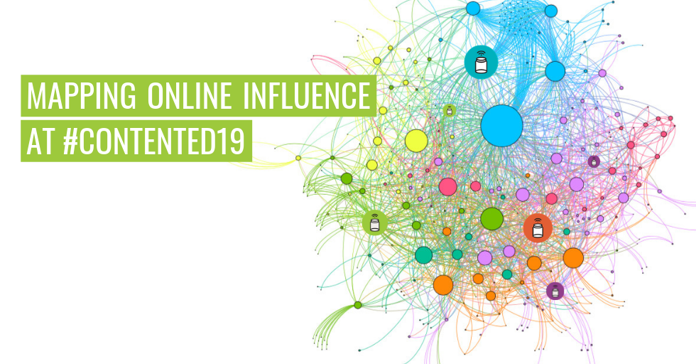 "An influencer map showing a colourful visualisation of Twitter conversations. Text reads, ""Mapping online influence at #ContentEd19."""