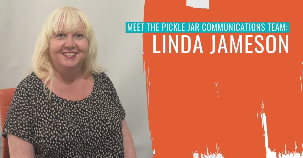 "Linda Jameson on the left. Text reads ""Meet the Pickle Jar Communications team: Linda Jameson""."