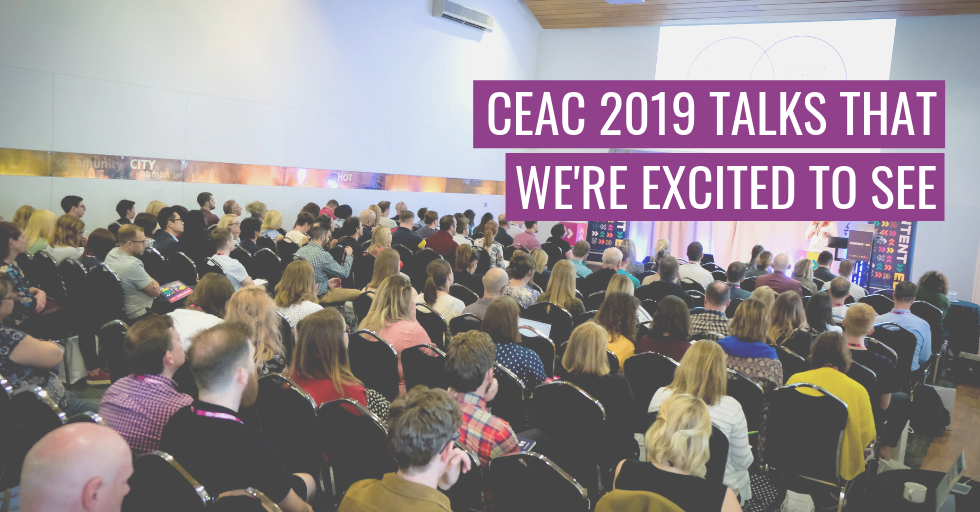 """A group of people sat watching a conference talk at ContentEd 2019, with the text, """"CEAC 2019: Talks that we're excited to see."""""""