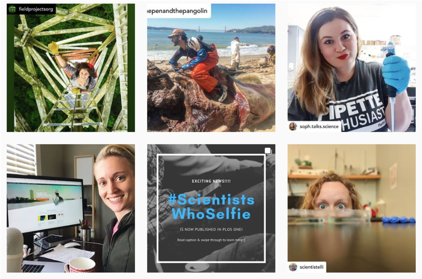 Screenshot of Instagram posts for the #ScientistsWhoSelfie hashtag.