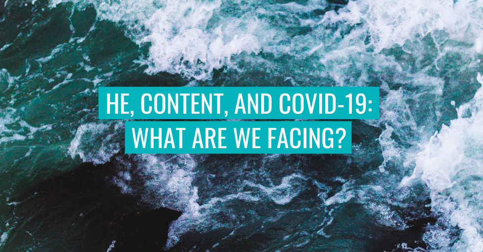"Waves in the background. Text reads ""HE, content and COVID-19: what are we facing?"""