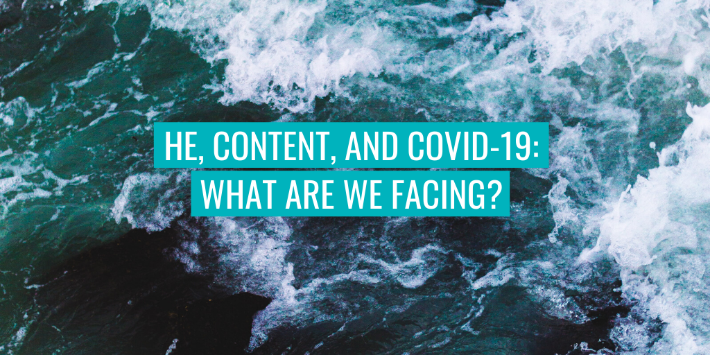 """Waves in the background. Text reads """"HE, content and COVID-19: what are we facing?"""""""