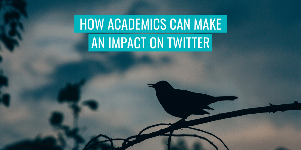 """A bird on a branch in the background. Text reads """"How academics can make an impact on Twitter""""."""