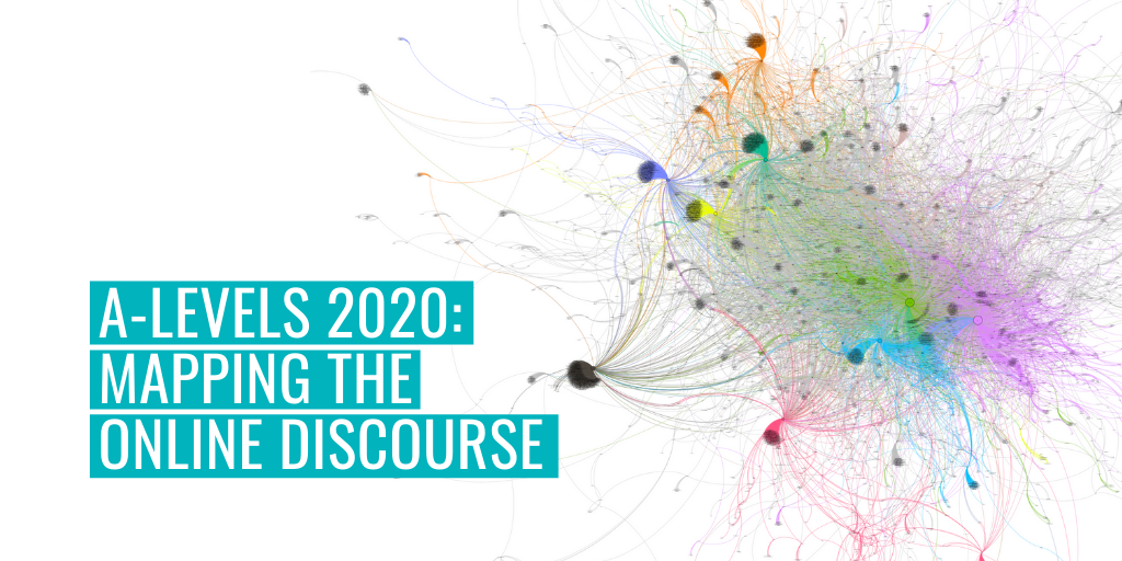 """A data visualisation of Twitter conversations during A-level results 2020. Text reads """"A-levels 2020: Mapping the online discourse""""."""