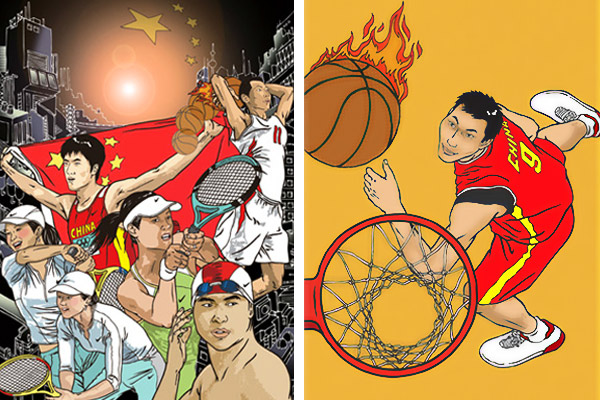 Nike '08 Golden Team (left), including YI Jianlian (right)