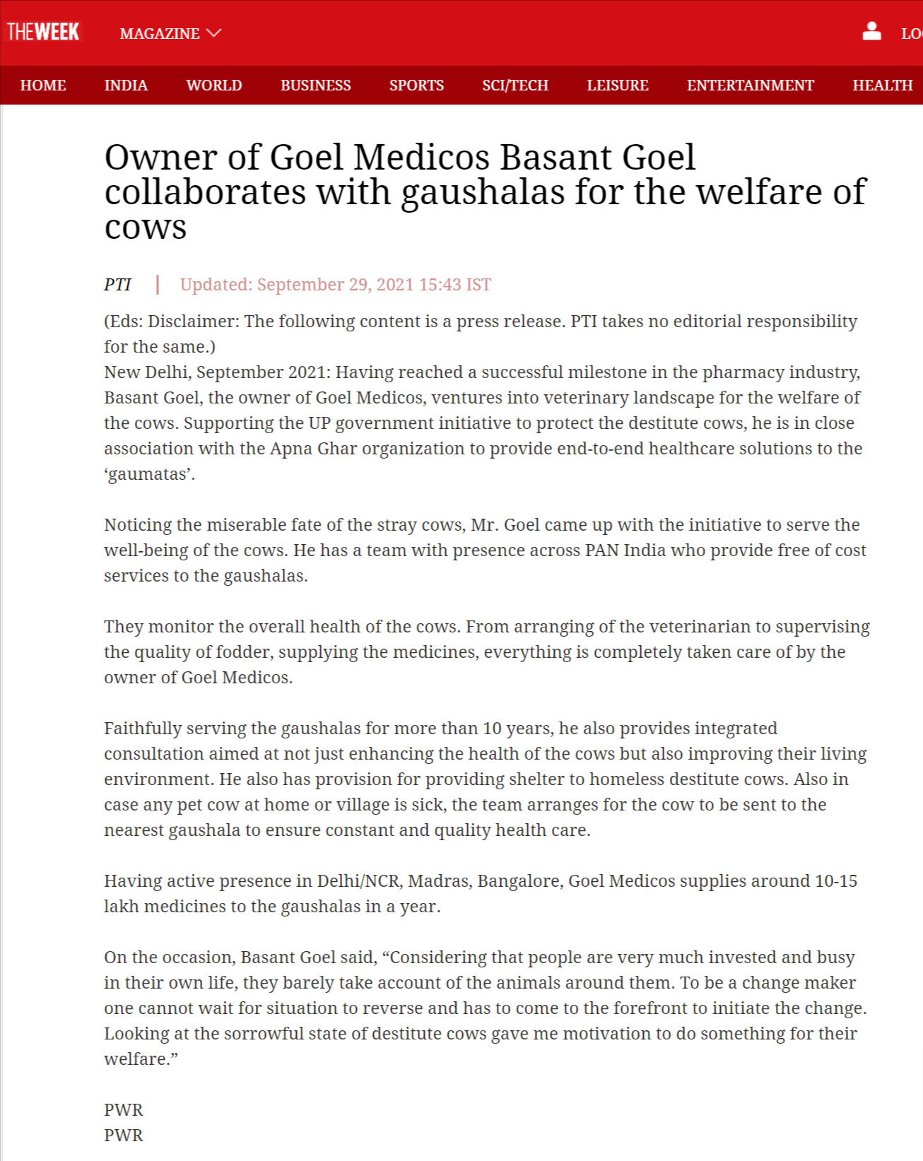 Owner of Goel Medicos Basant Goel collaborates with gaushalas for the welfare of cows