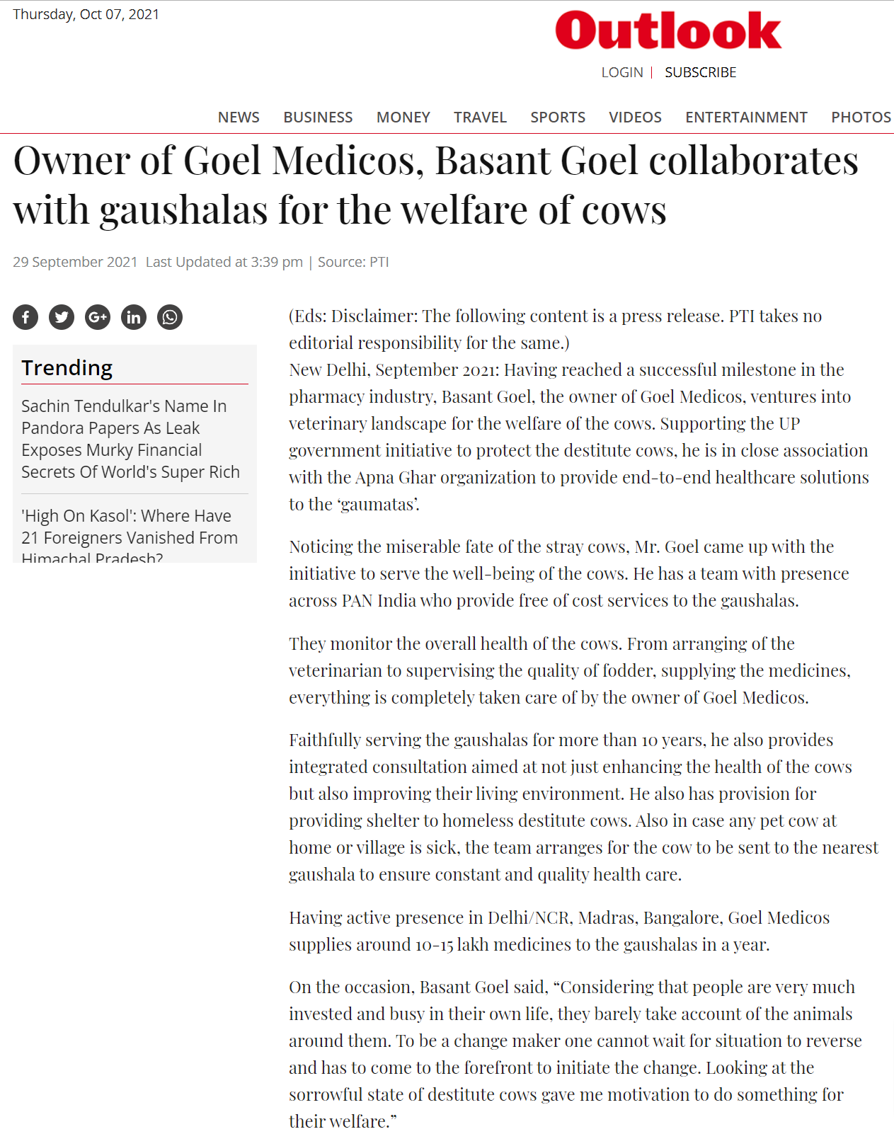 Owner of Goel Medicos, Basant Goel collaborates with gaushalas for the welfare of cows